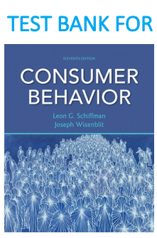 Test Bank for Consumer Behavior 11th Edition Book by Leon G. Schiffman, Joseph L. Wisenblit