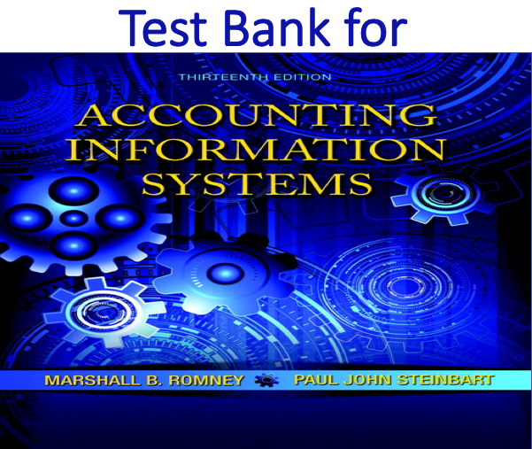 Test Bank for Accounting Information Systems 13th Edition