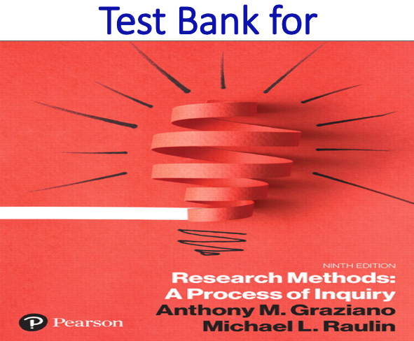 Test Bank for Research Methods A Process of Inquiry 9th Edition by Anthony M. Graziano, Michael L. Raulin
